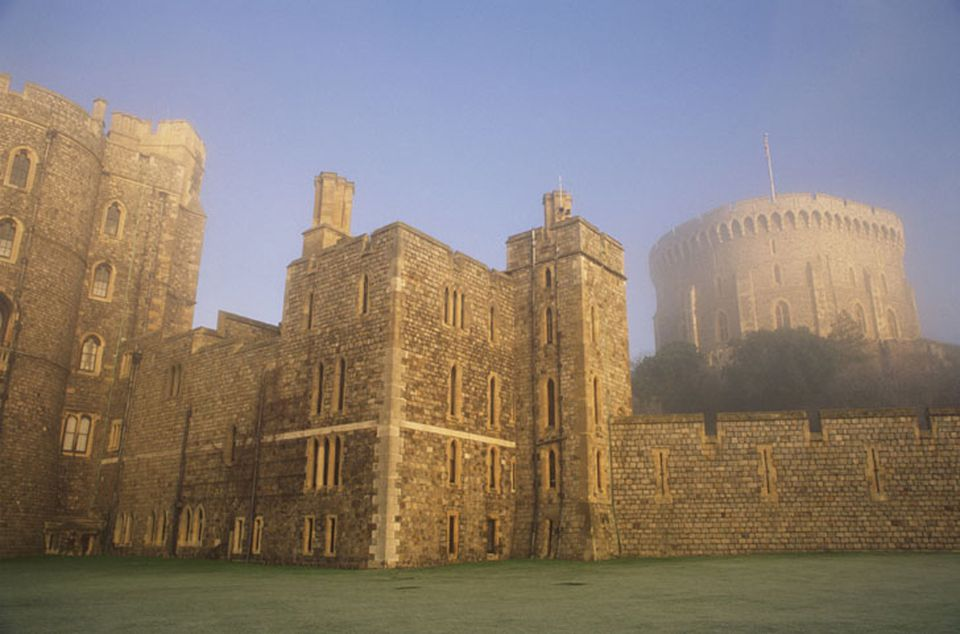 Windsor Castle in the morning mist.