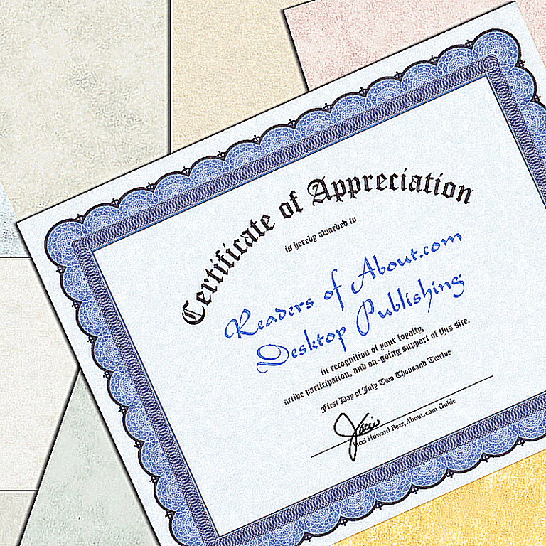 Certificate printed on blue parchment paper.