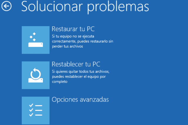 Restablecer tu PC Windows 8