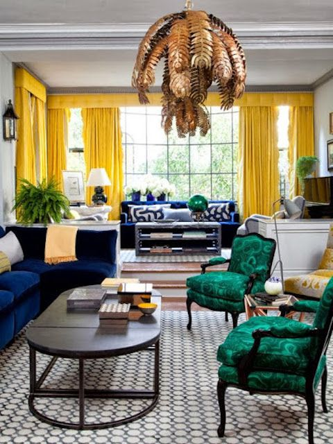 Colorful, mid-century living room