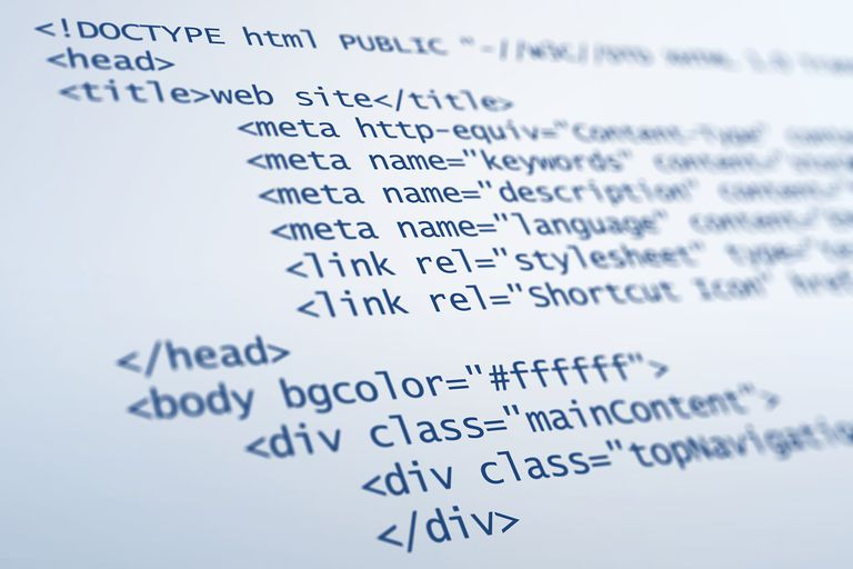 Picture of HTML code on a blue background