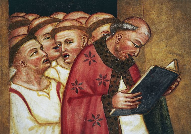 Fresco detail from the 14th century Church of St Ursula in Veneto, Italy, shocked monks reading