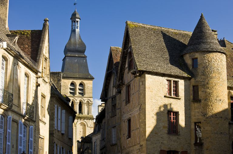 Small Medieval French towns like Sarlat east of Bordeaux, often have a mix  of historic