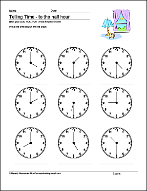 math worksheets telling time to the half hour. Black Bedroom Furniture Sets. Home Design Ideas