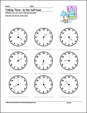 math worksheets telling time to the half hour. Black Bedroom Furniture Sets. Home Design Ideas
