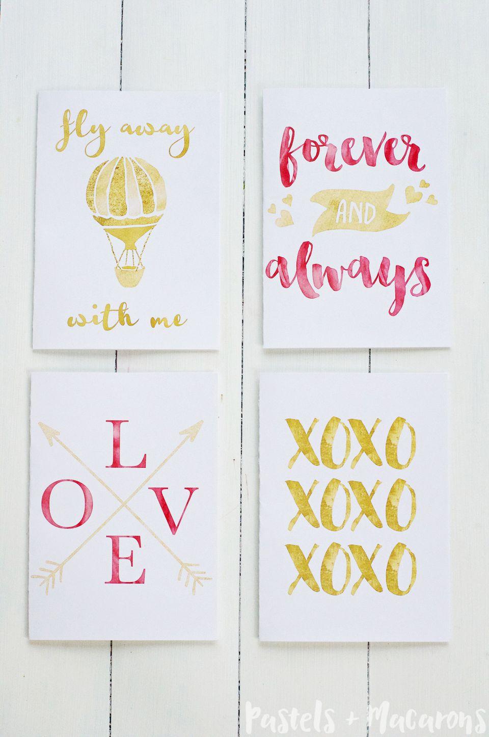 DIY Gold Foil Valentine's Day Cards
