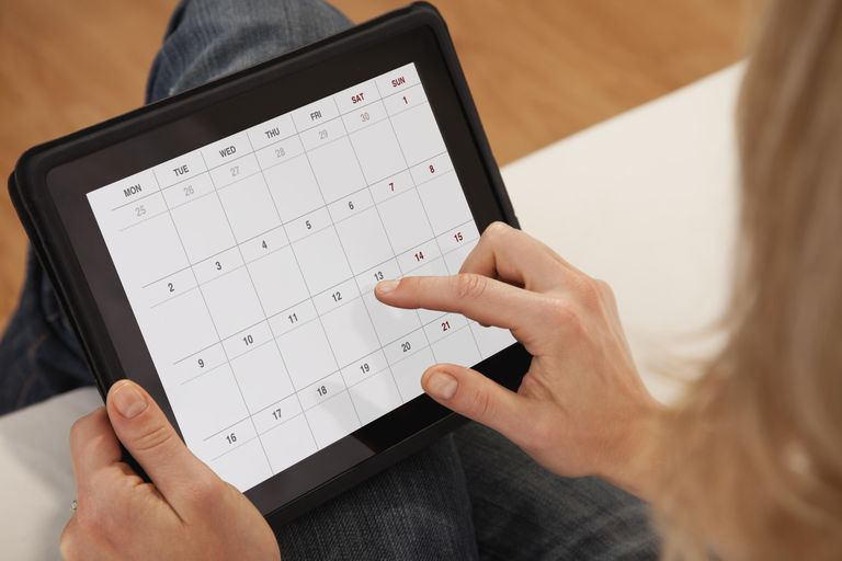USA, Illinois, Metamora, Close-up of woman using calendar on digital tablet
