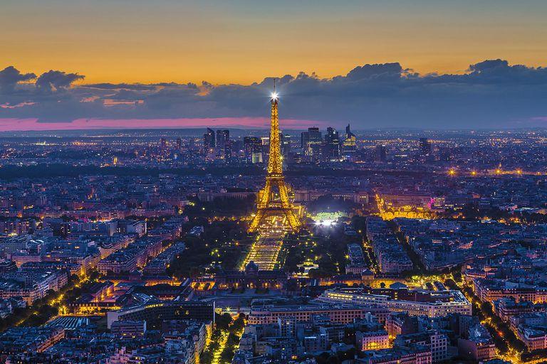 Eiffel Tower and Paris skyline at night