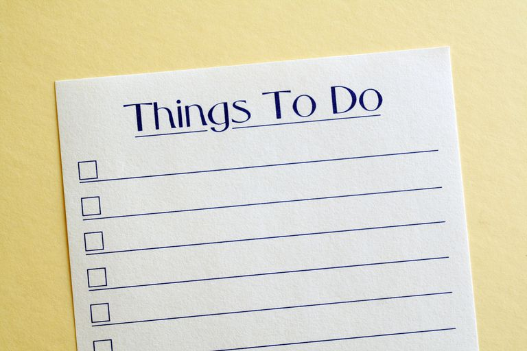 Things to do list on a notepad
