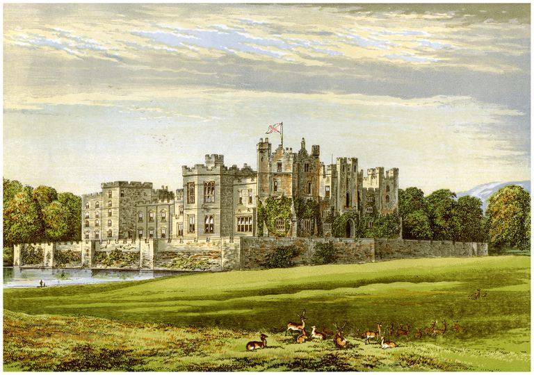 Raby Castle, County Durham, home of the Duke of Cleveland, c1880.