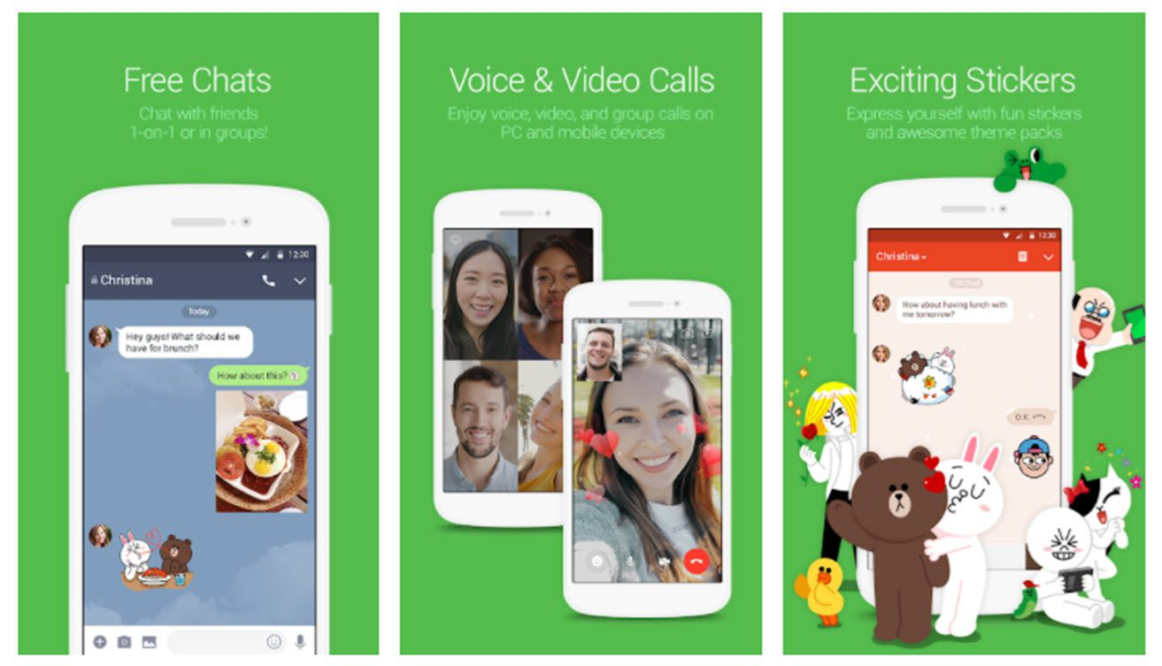 Screenshots of the Line app for video chats.
