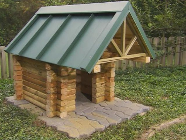 diy networks free log cabin doghouse plan - Dog Kennel Design Ideas