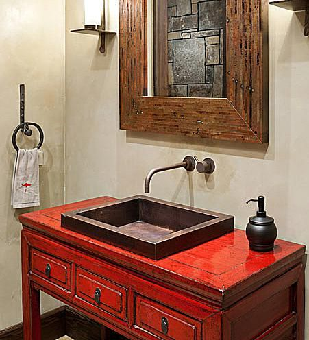 Native Trails recycled copper bath lav with hand-hammered patina