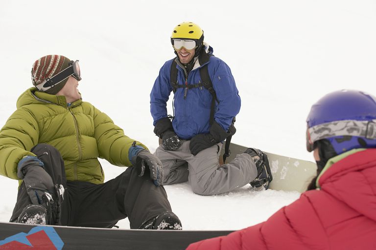 Snowboarders chatting