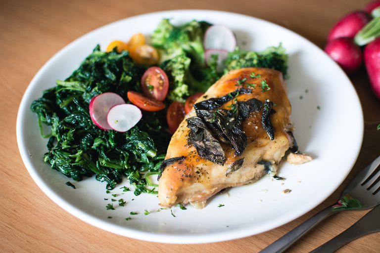 Chicken and spinach on a plate