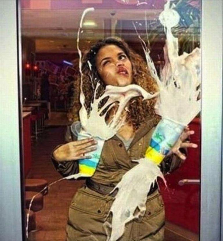 Girl walking into door
