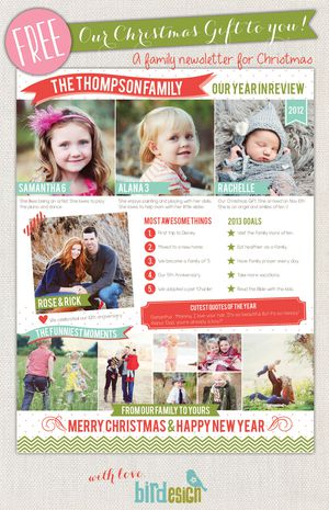 A Christmas newsletter templates with room for photos and text.