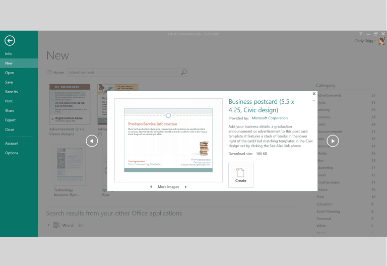 office publisher templates