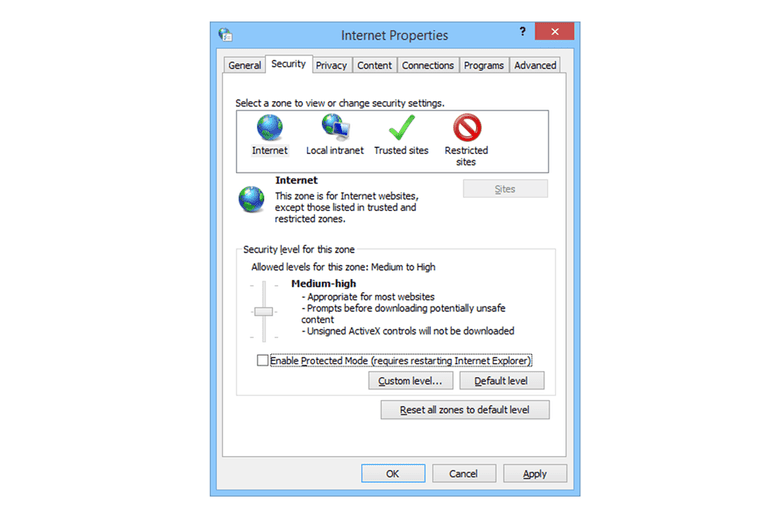 Screenshot showing the Protected Mode Options in Internet Explorer 11