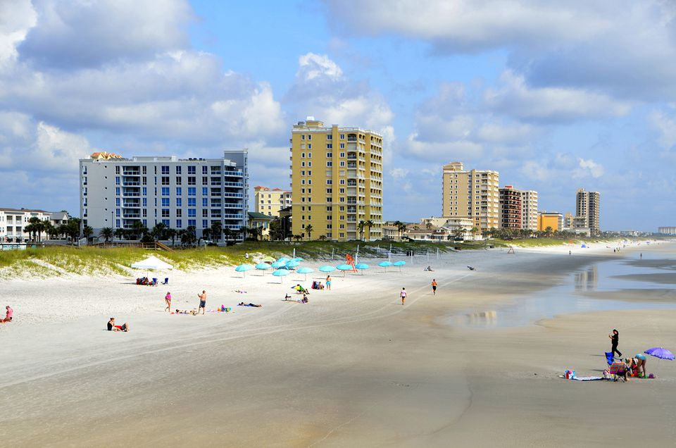 Beach and towers in Jacksonville, Florida