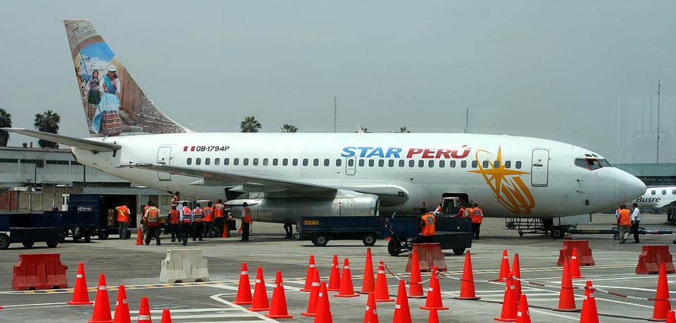 A Star Peru's Boeing 737-200 (OB-1794P) with ethnic livery in flight preparation at the Lima's Jorge Chávez International Airport, Peru.