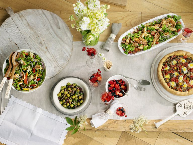 Selection of Mediterranean style dishes