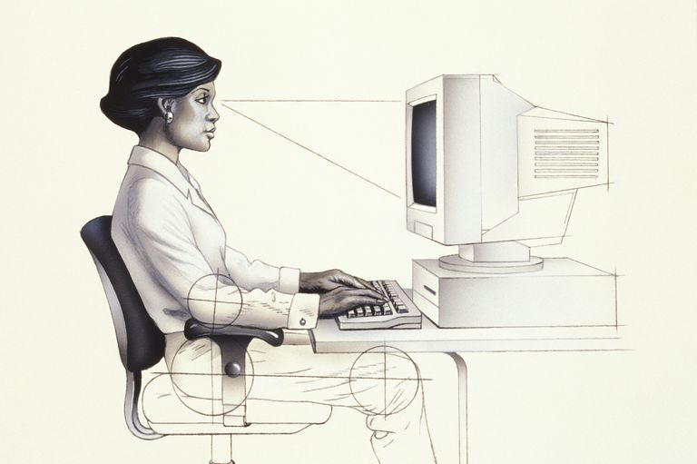 Computer worker diagram shows desk height, hip and knee angles and more.