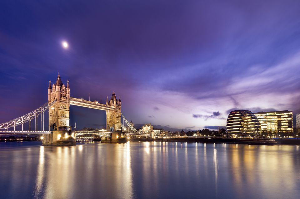 Tower Bridge and London at night