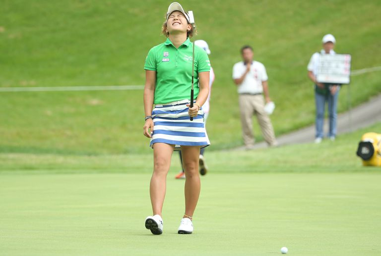 Misuzu Narita of Japan shows her disappointment after missing her putt on the 14th green during the final round of the Nipponham Ladies Classics at the Ambix Hakodate Club on July 10, 2016 in Hokuto, Japan
