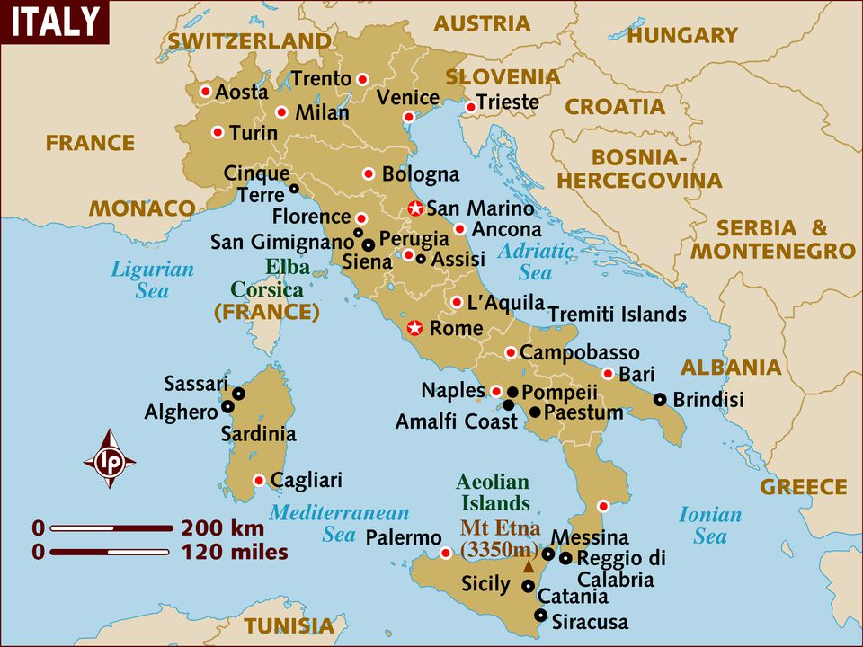 The Geography of Italy Map and Geographical Facts