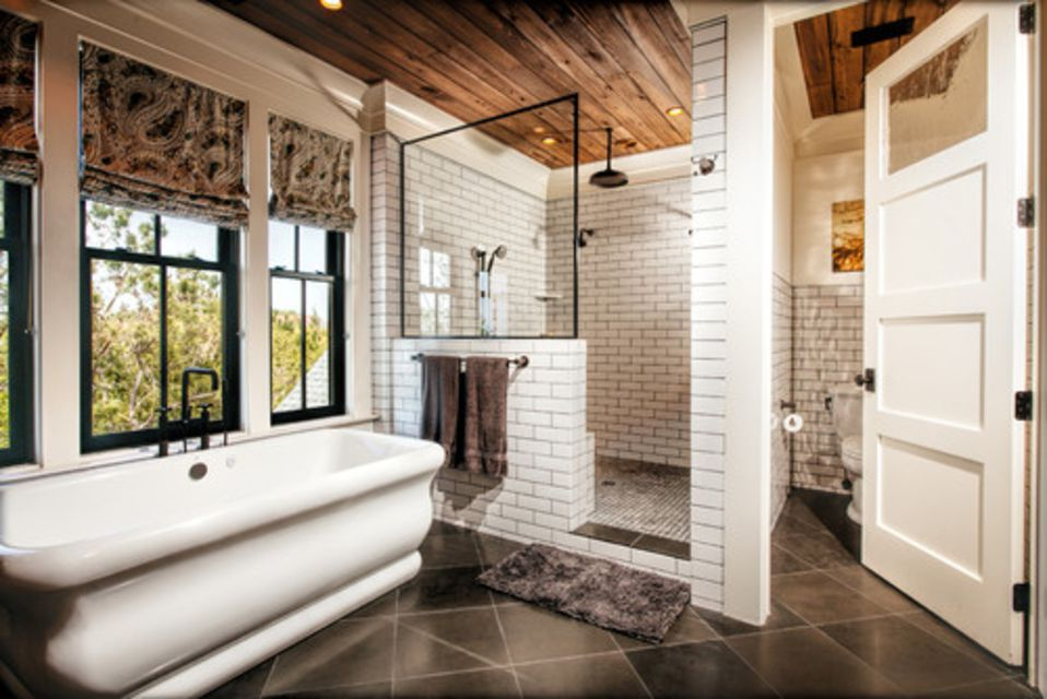 white subway tile with dark grout - Traditional Bathroom Tile Designs