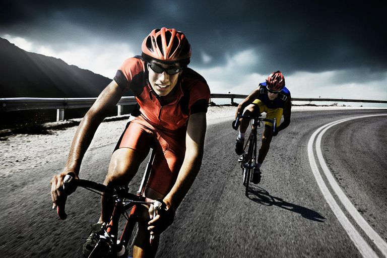Racing cyclists on road