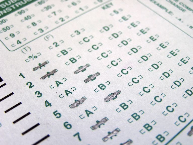Taking a personality test - multiple choice sheet