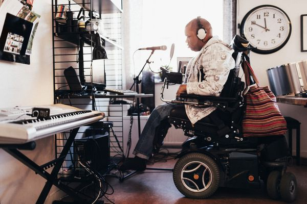 disabled man recording music