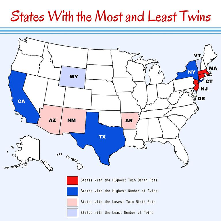 States with the Most and Least Twins