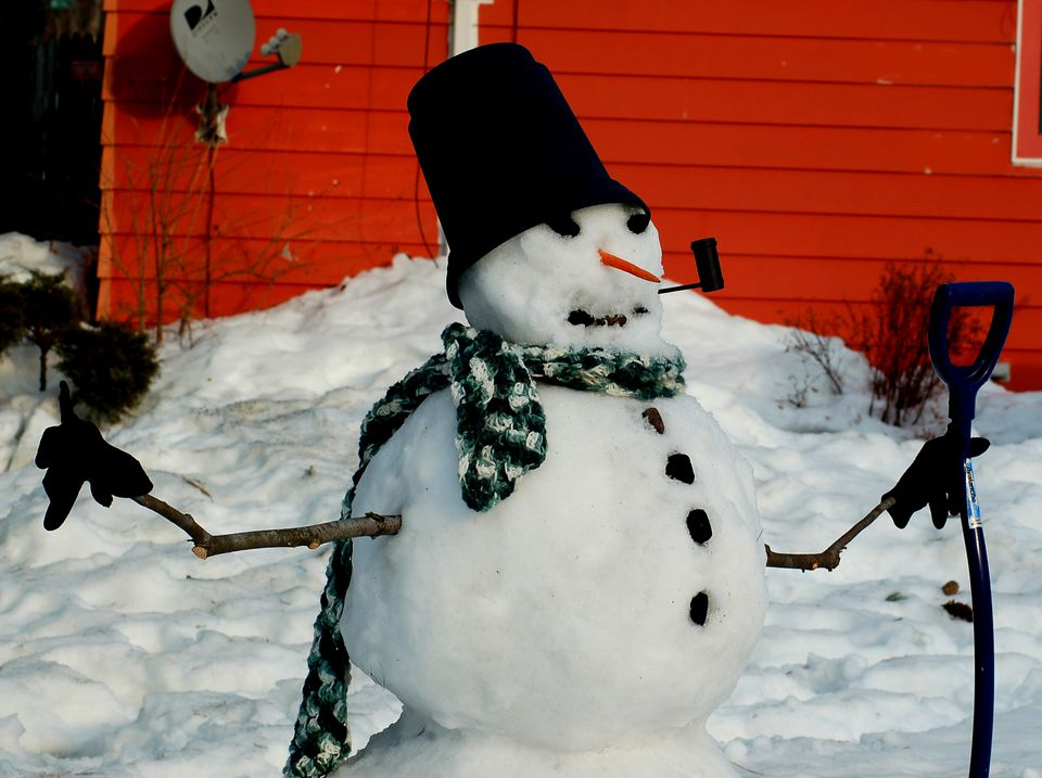 Image of snowman. This snowman has the classic top hat and pipe.