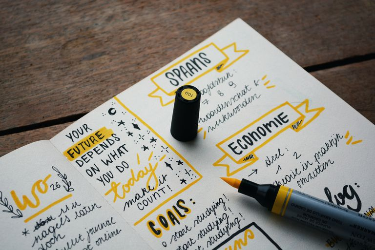 Colorful journal page with yellow highlighter