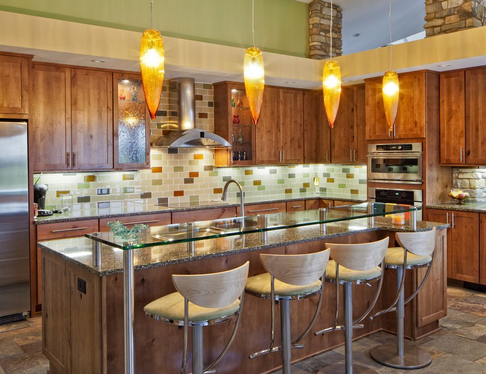Modern Kitchen With Colorful Subway Tile 155386823