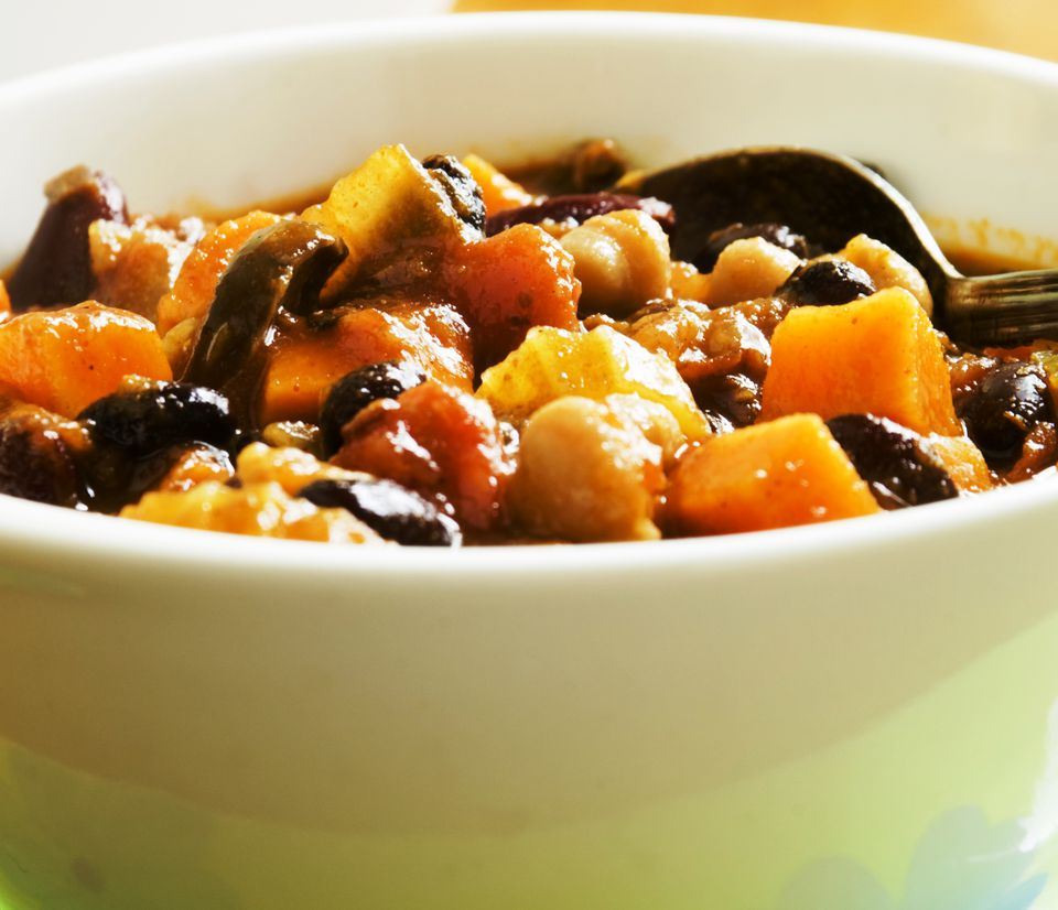 Vegetarian black bean chili with sweet potatoes, bell peppers and carrots. Yum!