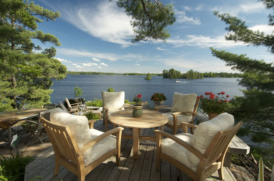 table on deck with view