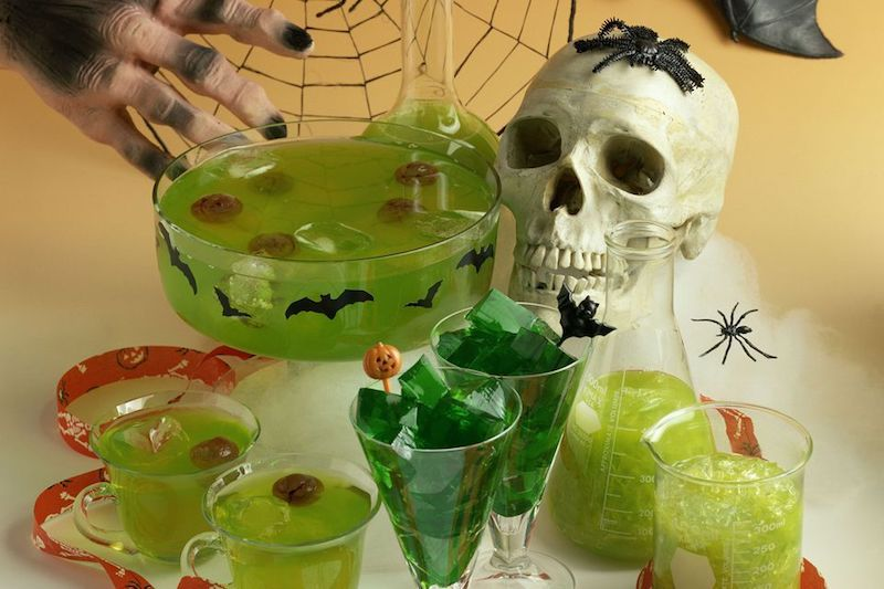 Halloween Punch with a Floating Brain