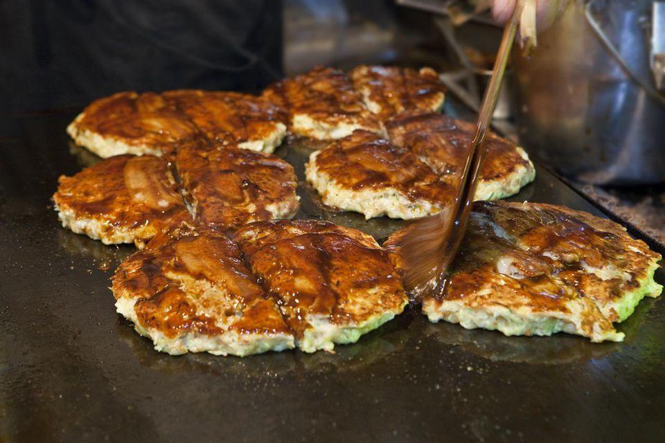 Okonomiyaki on a griddle