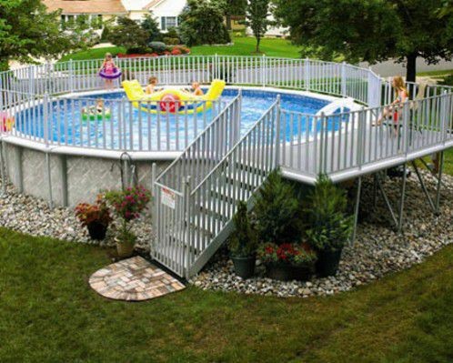 round metal frame above ground swimming pool - Above Ground Pool Deck Off House