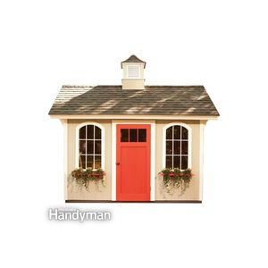 Tan shed with red door