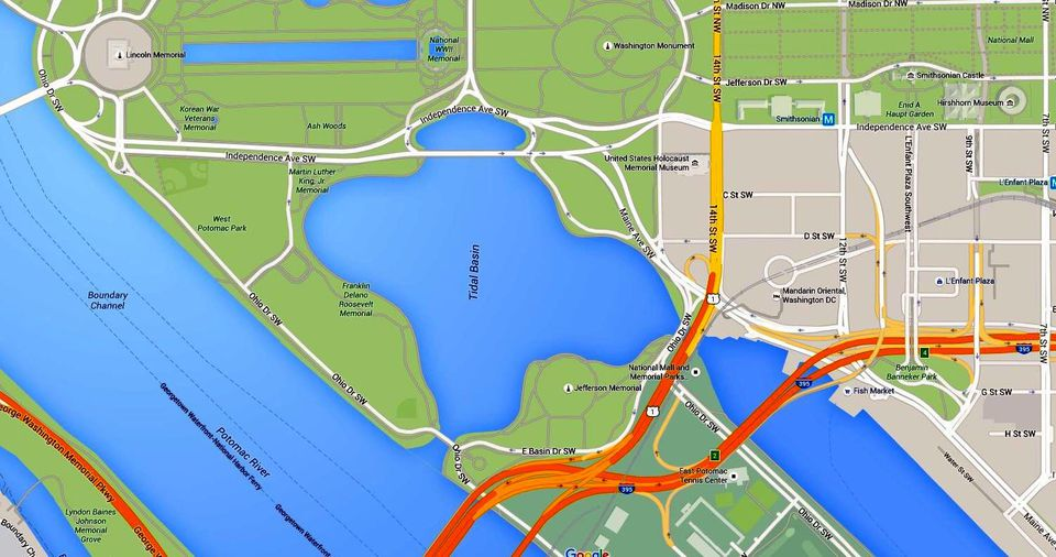 Where is the Tidal Basin in Washington DC See a Map
