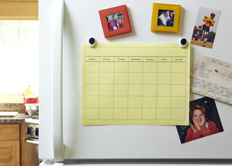 Blank Calendar on Refrigerator