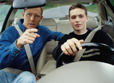 Teen and Dad Driving