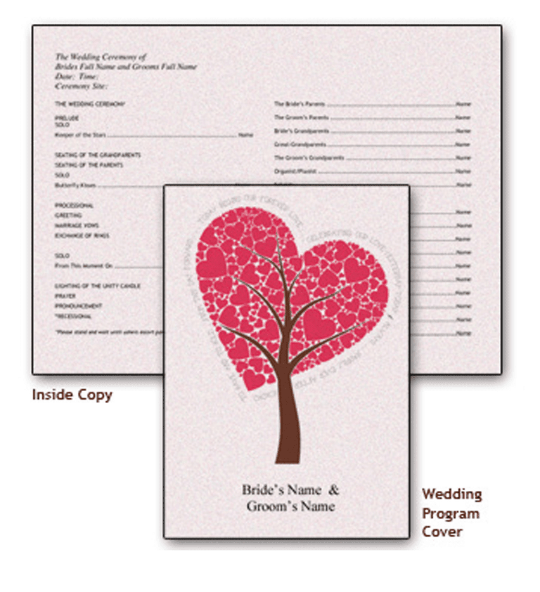 27 free wedding program templates youll love picture of a free wedding program template with a heart pronofoot35fo Images