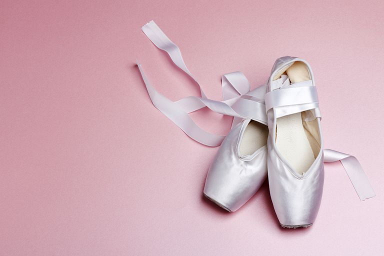 Well loved ballet pointe shoes.