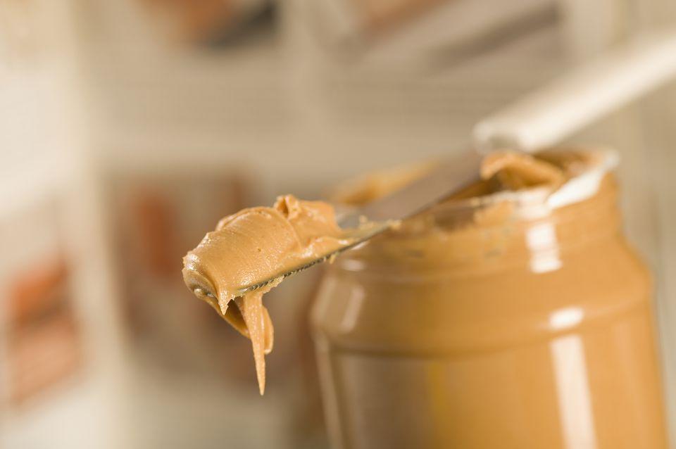 Peanut butter on a knife